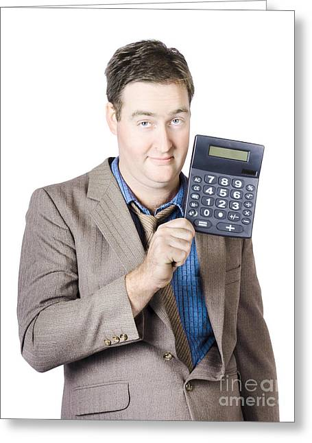 Tax Return Time. Accountant Man Holding Calculator Greeting Card by Jorgo Photography - Wall Art Gallery