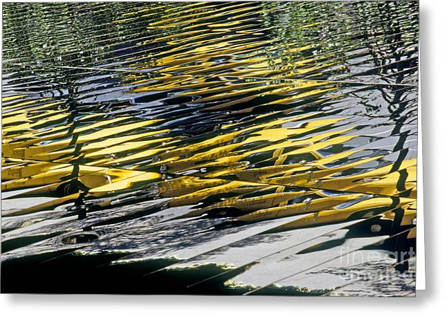 Yellow Abstract Art Greeting Cards - Taxi Abstract Greeting Card by Tony Cordoza