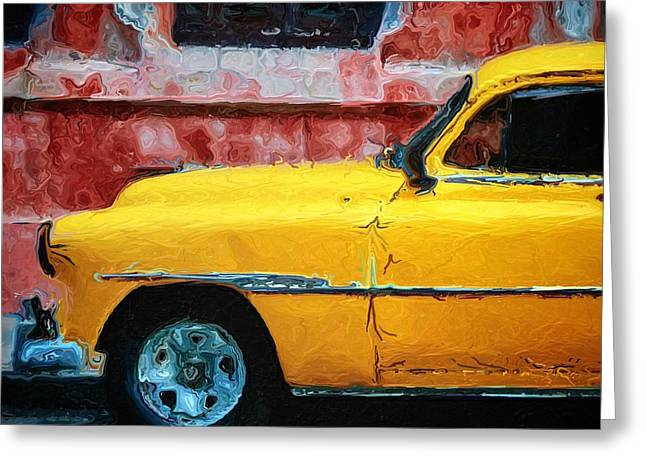 Taxi Against Red Wall Greeting Card