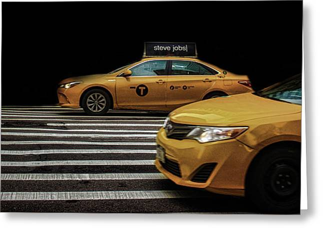 Taxi Greeting Card by Martin Newman