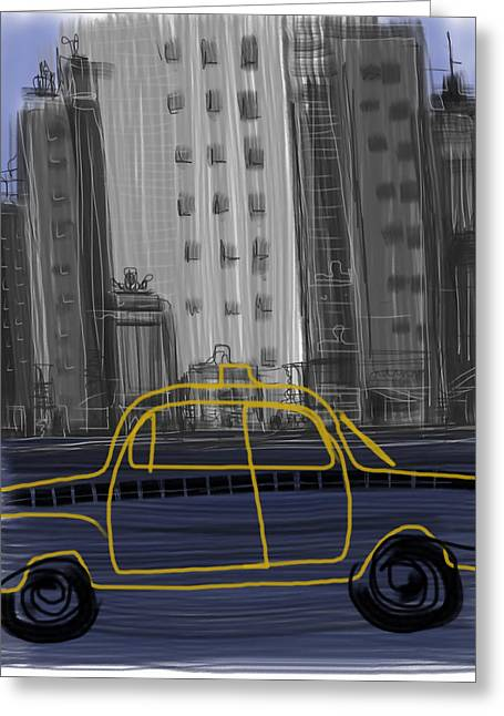 Hail A Cab Greeting Cards - Taxi Greeting Card by Russell Pierce