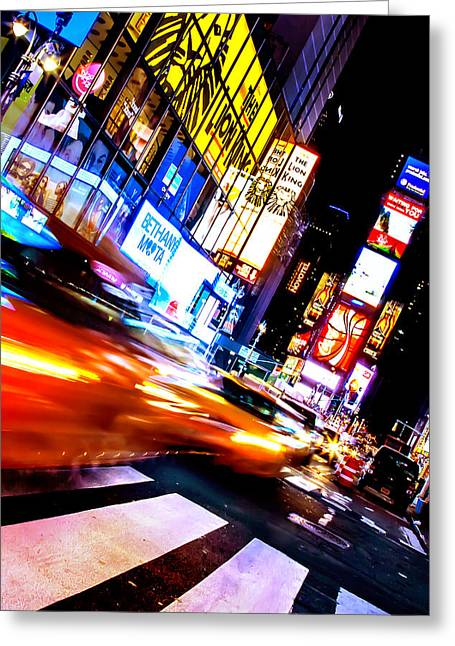 Taxi Square Greeting Card by Az Jackson