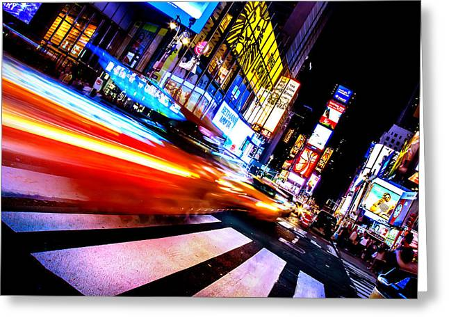 Taxis In Times Square Greeting Card by Az Jackson