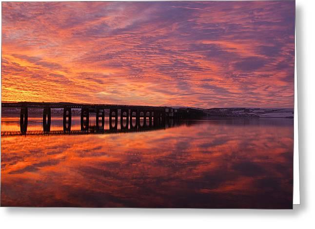 Fife Greeting Cards - Tay Bridge Sunrise Greeting Card by Derek Whitton