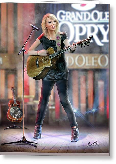 Taylor At The Opry Greeting Card by Don Olea