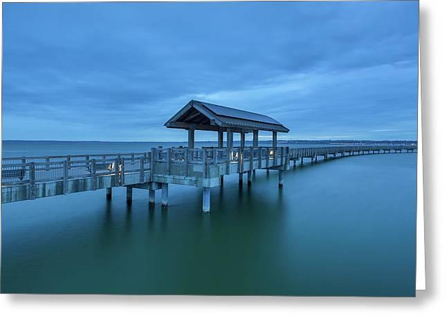 Taylor Dock Boardwalk At Blue Hour Greeting Card