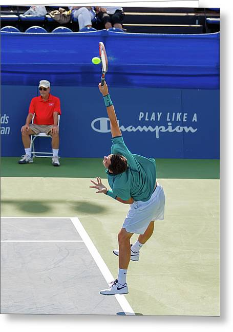 Taylor Fritz Plays In The Winston-salem Open. Greeting Card by Bryan Pollard