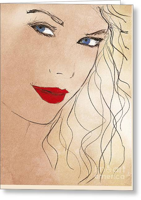 Taylor Red Lips Greeting Card by Pablo Franchi