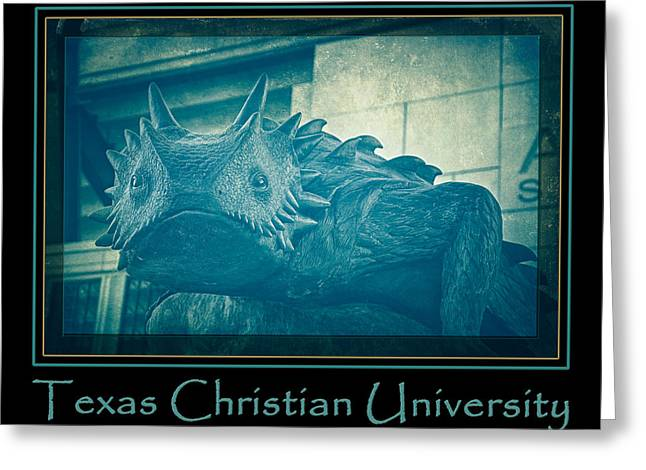 Tcu Horned Frog Blue Poster Greeting Card by Joan Carroll