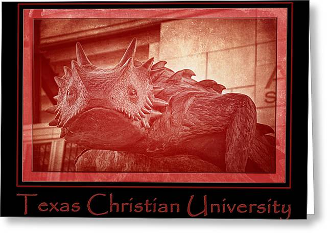 Tcu Horned Frog Poster Red Greeting Card by Joan Carroll