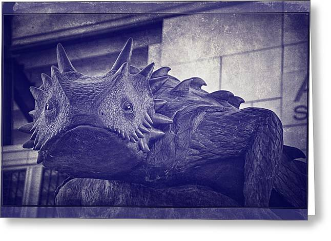 Tcu Horned Frog Purple Greeting Card by Joan Carroll