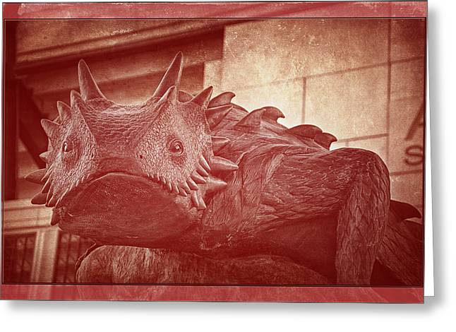 Tcu Horned Frog Red Greeting Card by Joan Carroll
