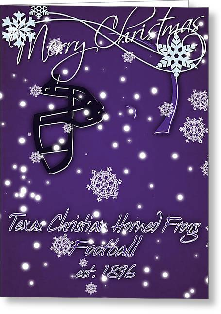 Tcu Horned Frogs Christmas Card Greeting Card by Joe Hamilton