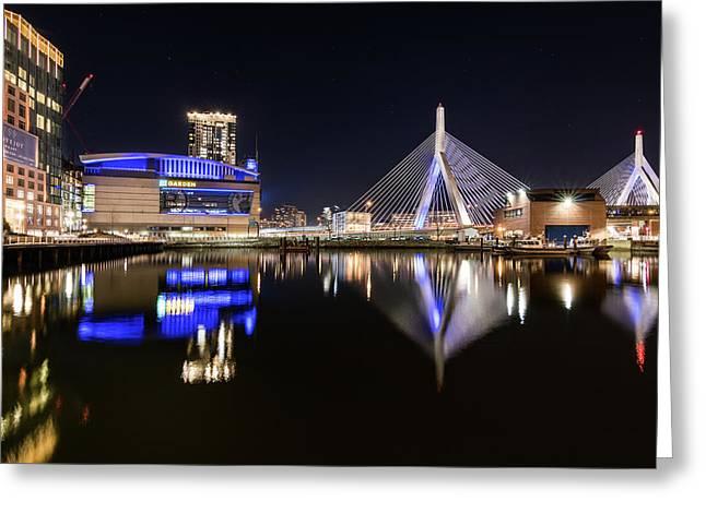Td Garden And The Zakim Bridge At Night Greeting Card