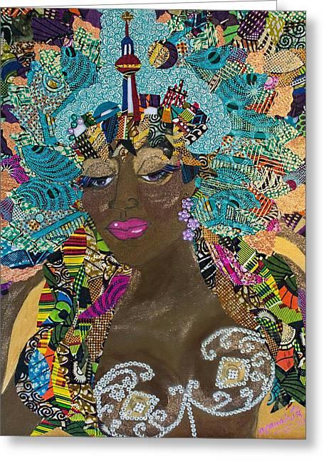 Greeting Card featuring the tapestry - textile Tdot Caribana by Apanaki Temitayo M