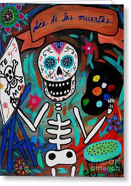 Greeting Card featuring the painting Te Amo Painter Dia De Los Muertos by Pristine Cartera Turkus