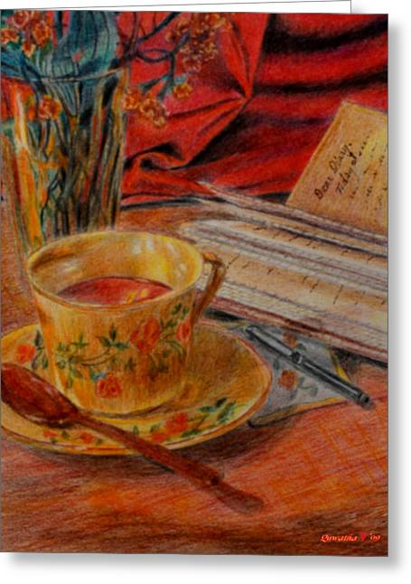 Tea And Diary Greeting Card by Quwatha Valentine