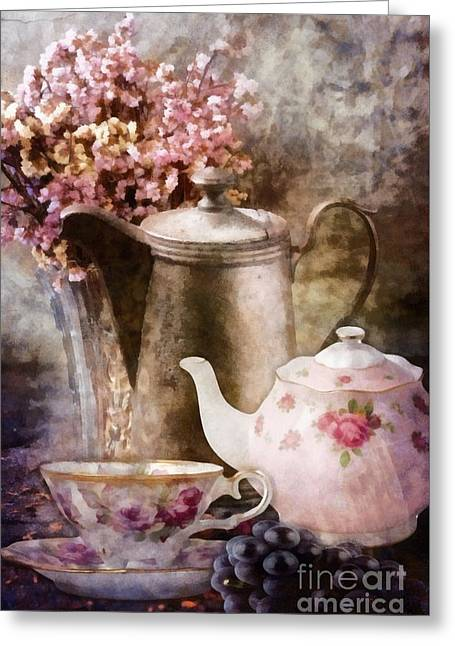 Greeting Card featuring the painting Tea And Grapes by Mo T