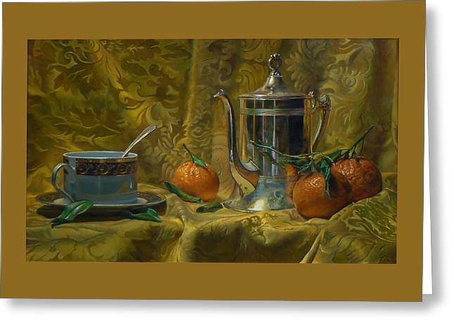 Tea And Oranges Greeting Card by Jeffrey Hayes