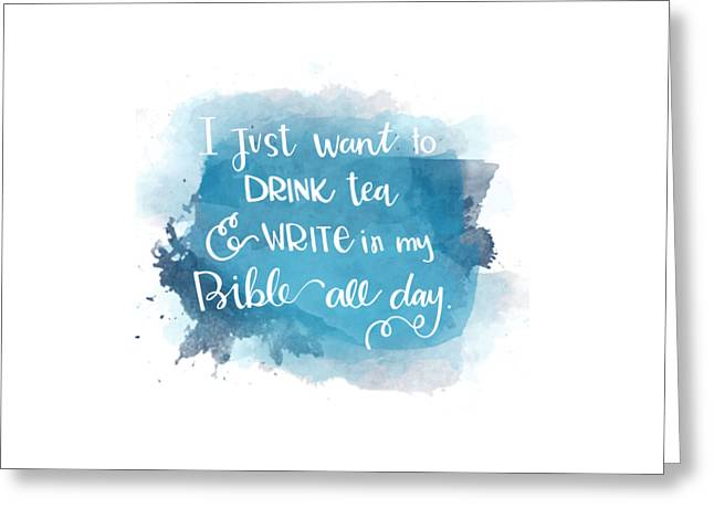 Tea And Write Greeting Card by Nancy Ingersoll