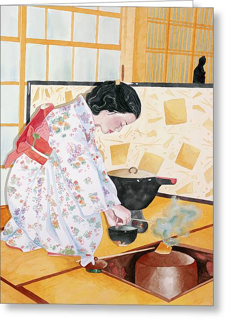 Tea Ceremony Greeting Card by Judy Swerlick