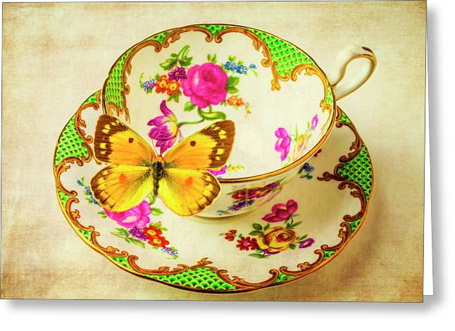 Tea Cup And Butterfly Greeting Card by Garry Gay