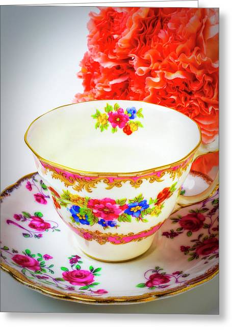 Tea Cup And Carnations Greeting Card by Garry Gay