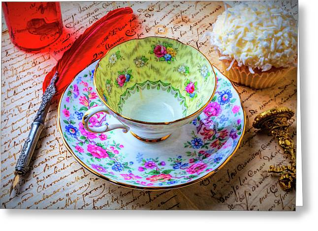 Tea Cup And Cupcake Greeting Card by Garry Gay