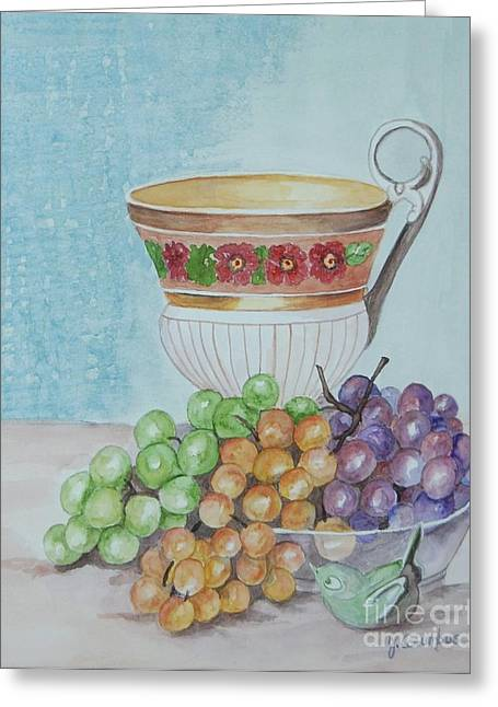 Tea Cup And Grapes Greeting Card by Janna Columbus