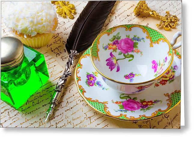 Tea Cup And Green Ink Well Greeting Card by Garry Gay