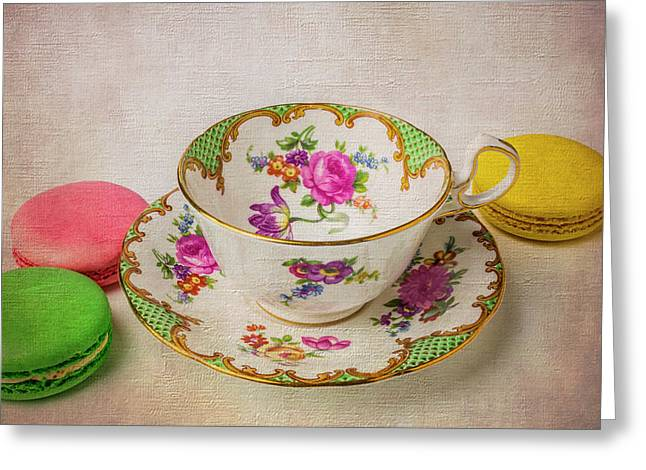 Tea Cup And Macaroons Greeting Card by Garry Gay