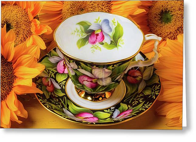 Tea Cup And Sunflowers Greeting Card