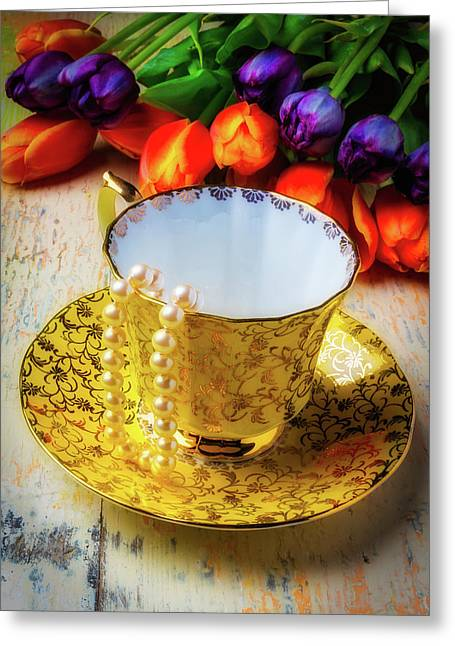 Tea Cup And Tulips Greeting Card