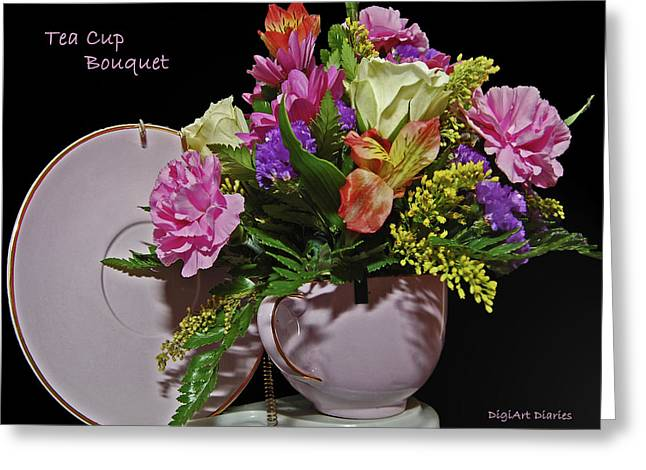 Saucer Peach Greeting Cards - Tea Cup Bouquet Greeting Card by DigiArt Diaries by Vicky B Fuller