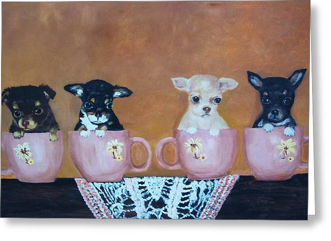 Tea Cup Chihuahuas Greeting Card