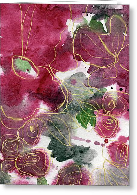 Tea Cup Roses- Art By Linda Woods Greeting Card