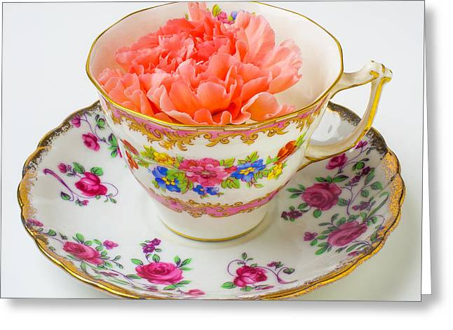 Tea Cup With Carnation Greeting Card by Garry Gay