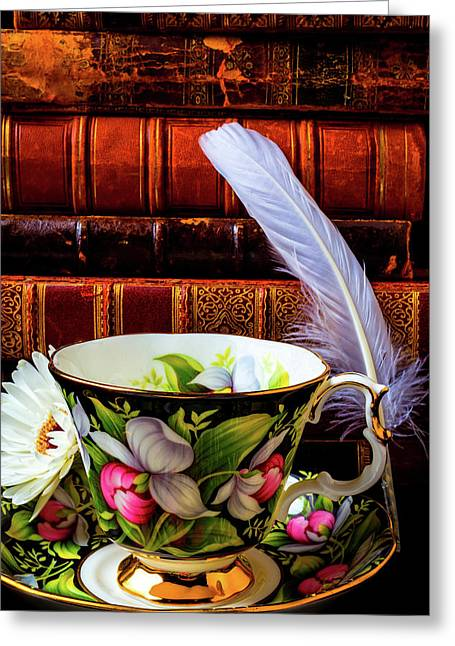 Tea Cup With Old Books And Feather Greeting Card by Garry Gay