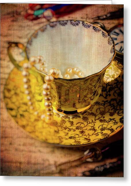 Tea Cup With Pearls  Greeting Card