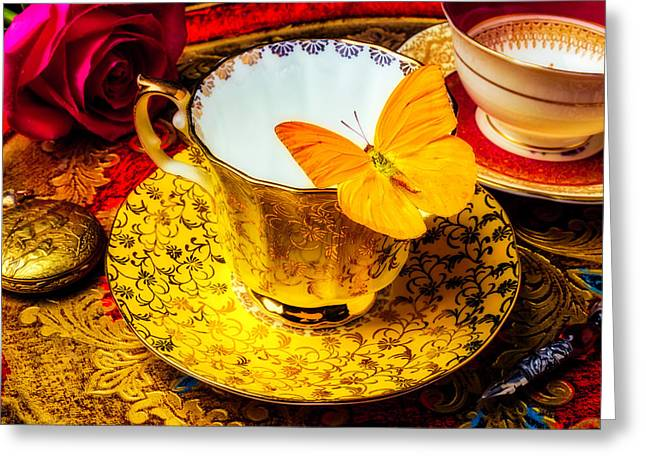 Tea Cup With Yellow Butterfly Greeting Card