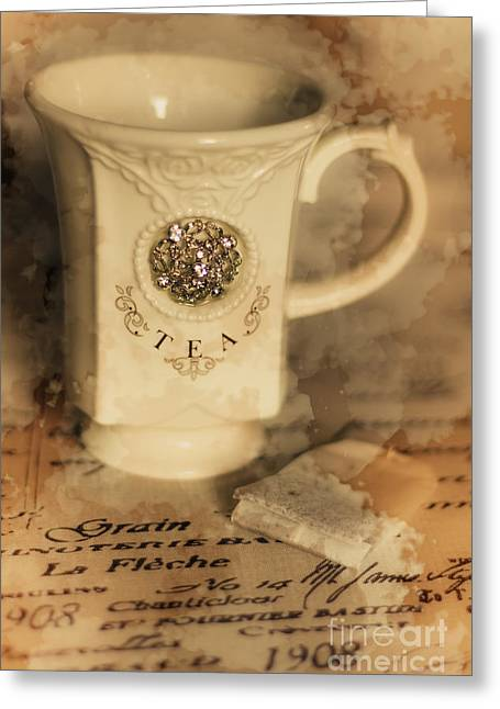 Tea Cups And Vintage Stains Greeting Card by Jorgo Photography - Wall Art Gallery