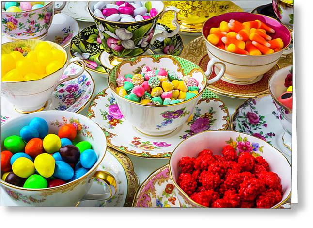 Tea Cups Full Of Candy Greeting Card