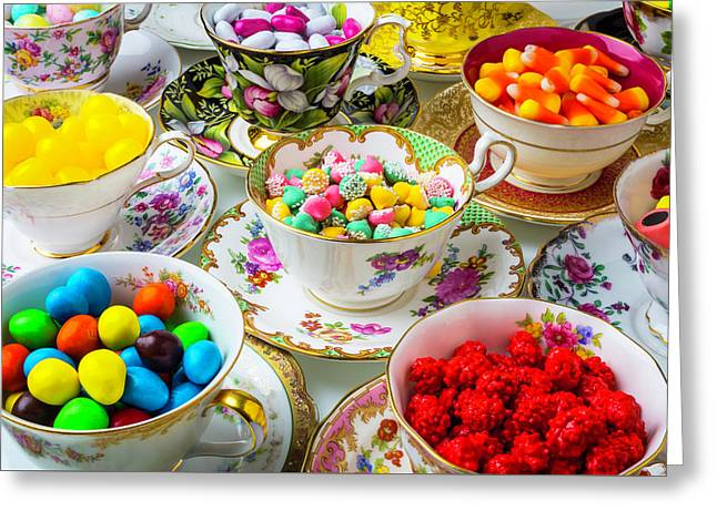 Tea Cups Full Of Candy Greeting Card by Garry Gay
