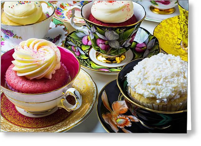 Tea Cups Full Of Cupcakes Greeting Card