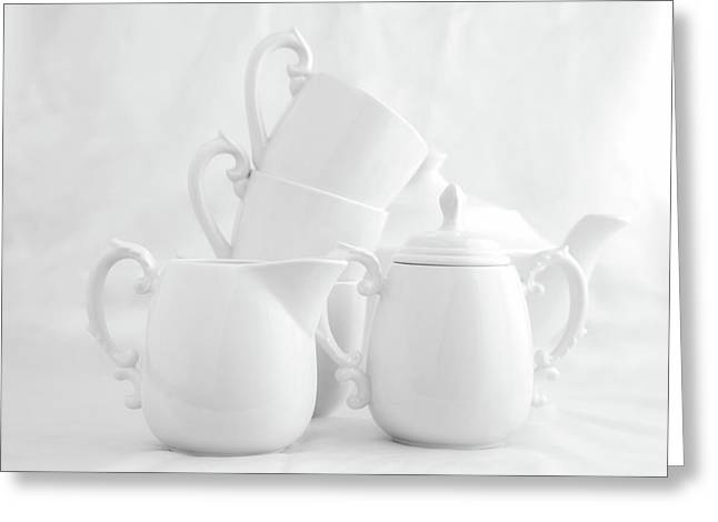 Tea For Three In White Greeting Card