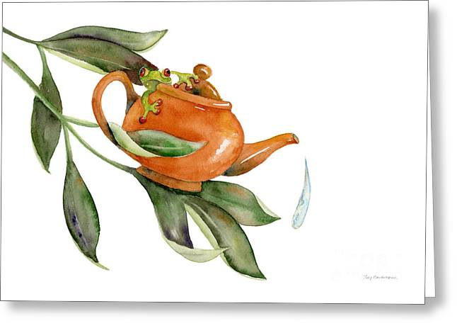 Tea Frog Greeting Card by Amy Kirkpatrick
