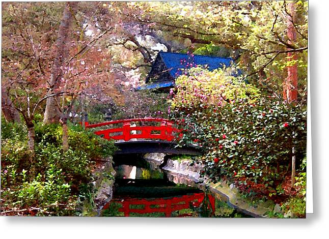 Tea Garden Greeting Card by Timothy Bulone