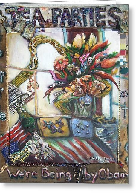 Tea Parties Greeting Card by Lee Anne Stieglitz