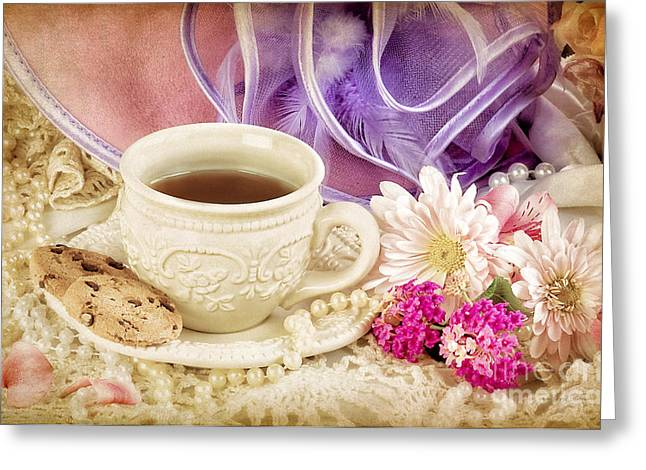Tea Party Greeting Card by Cheryl Davis