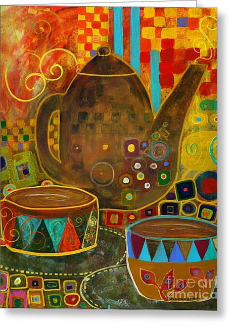 Tea Party With Klimt Greeting Card